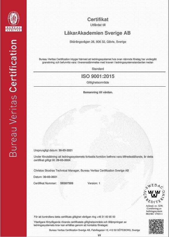 Vårt ISO9001 certifikat